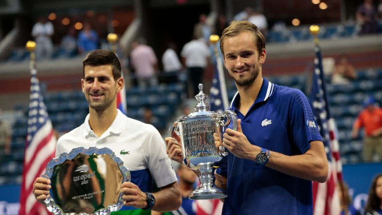 Djokovic was effusive in his praise of Medvedev, who double-faulted on his first two championship points before converting on his third.
