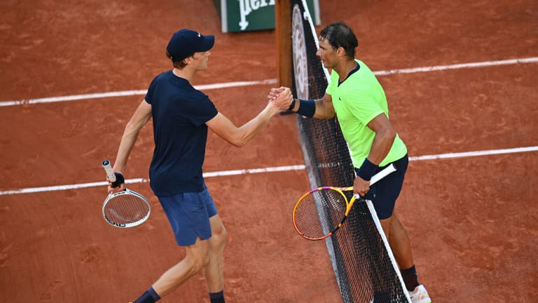 """""""He's very humble, a very great person,"""" Sinner says of Nadal, who knocked out the teen for the second straight year at Roland Garros."""