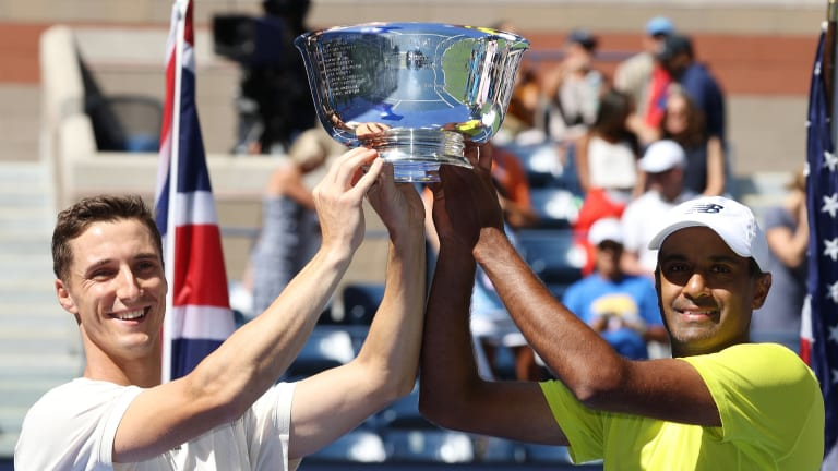 Seeded No. 4 at the US Open, Salisbury and Ram rallied from a set down to defeat Murray and Soares in the men's doubles final.