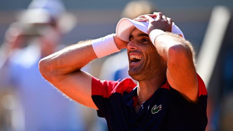 Pablo Andujar, who beat Roger Federer last week in Geneva, kept it all inside until he completed his five-set comeback victory in Paris.