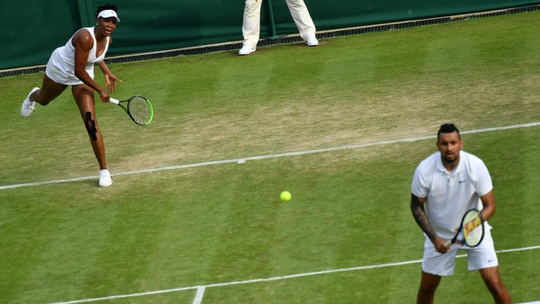 Kyrgios and Williams won their mixed-doubles opener at Wimbledon, and entertained fans around the world.