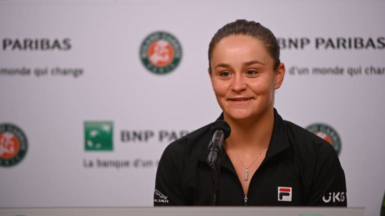 Top seed Ashleigh Barty at pre-tournament press in Paris.
