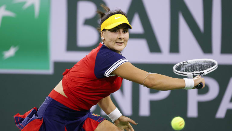 Andreescu made a victorious—if dramatic—return to Indian Wells action in three sets over Alison Riske.