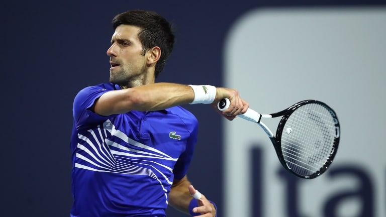With back against the wall, Djokovic fights off Delbonis in Miami