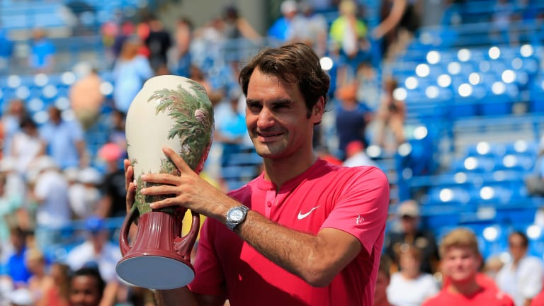 """Federer last won Cincinnati in 2015, where he famously unveiled his """"SABR"""" return technique."""