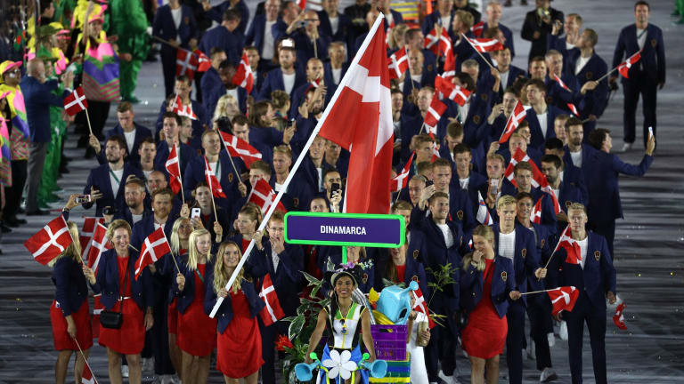 Wozniacki leads Denmark's Olympic delegation at the 2016 opening ceremony.