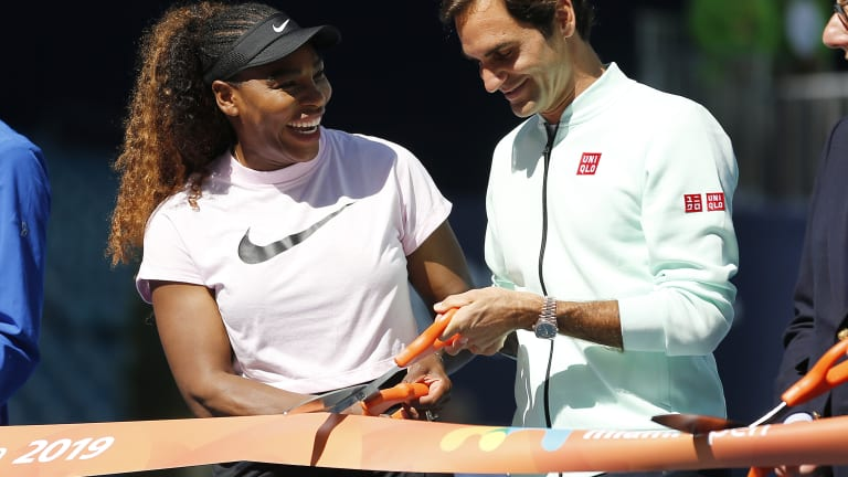 Serena and Federer helped celebrate the Miami Open's move to Hard Rock Stadium in 2019.