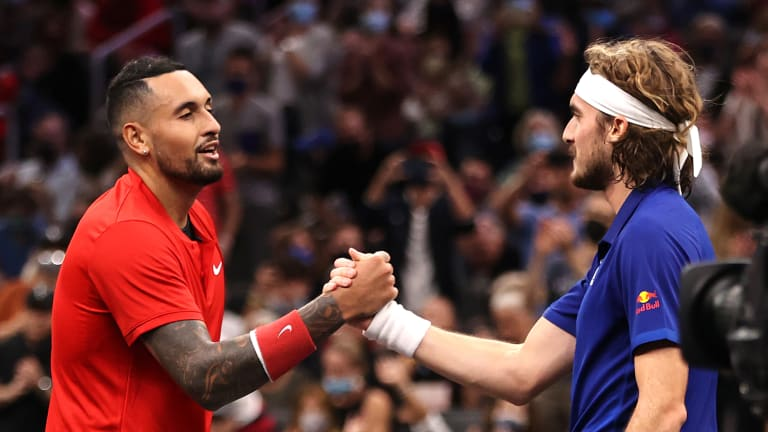 Kyrgios has eight career wins over Top 3 players, but No. 3 Tsitsipas was just too good at the Laver Cup on Saturday.