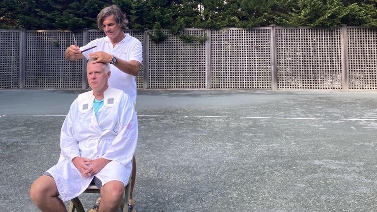 US Open hair guru  does haircuts on  the tennis court