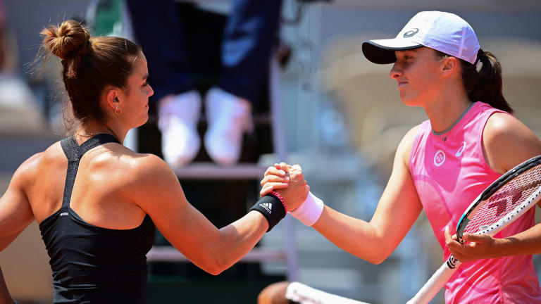 Sakkari snapped Swiatek's 10-match winning streak that started with a title run in Rome last month (Getty Images).