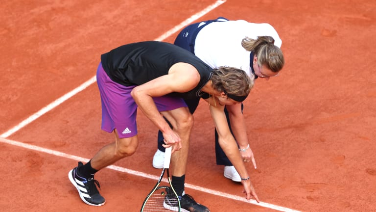 This particular line call was one of the only things that didn't go Alexander Zverev's way on Tuesday.