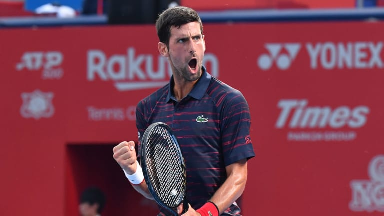Djokovic continues Tokyo title quest; Goffin saves three match points