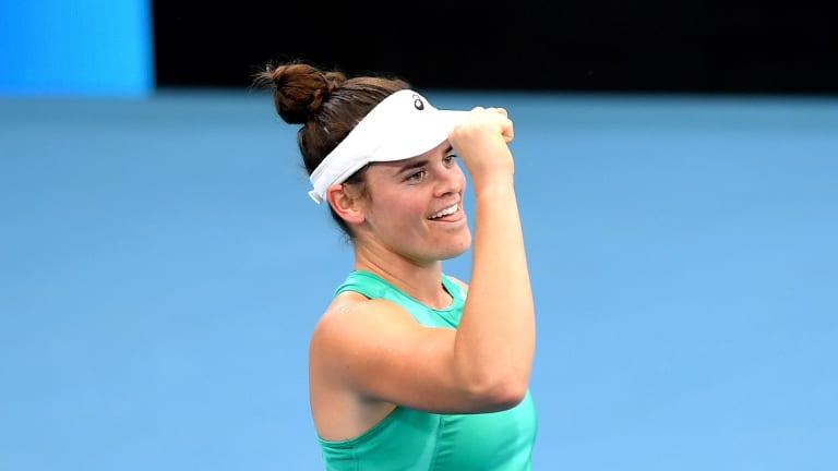 Qualifier Brady serves up big Brisbane upset against WTA No. 1 Barty