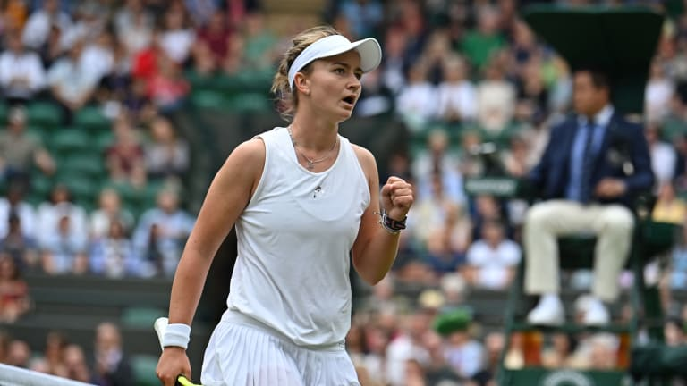 Krejcikova battled Ashleigh Barty at Wimbledon after reaching the fourth round in her singles main-draw debut (Getty Images).