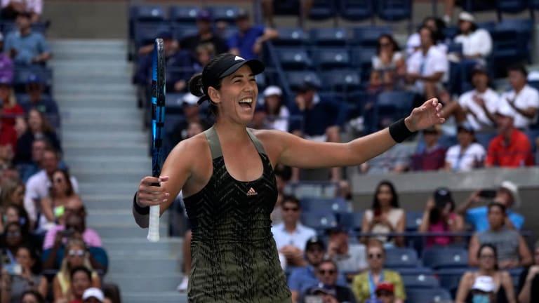 Muguruza recovered from a second-set dip to outlast three-time US Open finalist Victoria Azarenka on Arthur Ashe Stadium.