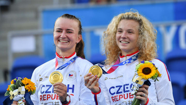 Barbora Krejčíková (left) has won a Grand Slam title and an Olympic gold medal in 2021.