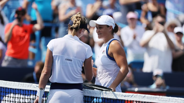 """""""This is where you belong, this is your level,"""" champion Barty told the 76th-ranked wild card after her deep run in Cincy."""