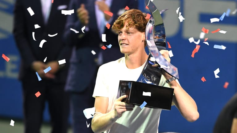Sinner needed a whopping 11 set points in the first set and shook off losing a big lead in the third before winning the biggest title of his young career.