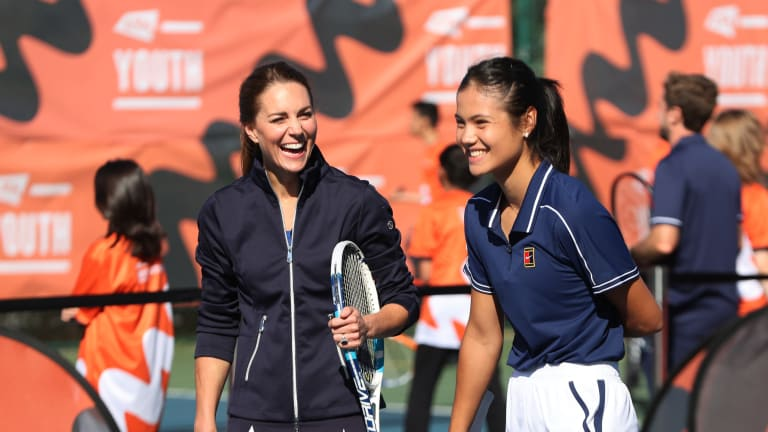 Emma Raducanu and the Duchess of Cambridge at the National Tennis Centre.