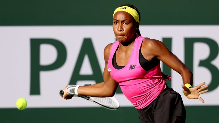 Coco Gauff had never played at the BNP Paribas Open until this week; she's playing singles and doubles.