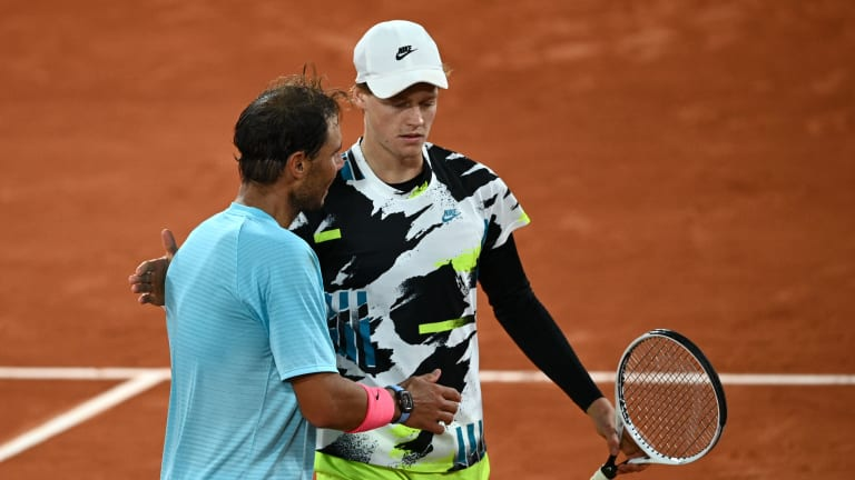Nadal defeated Sinner in three close sets at the 2020 French Open