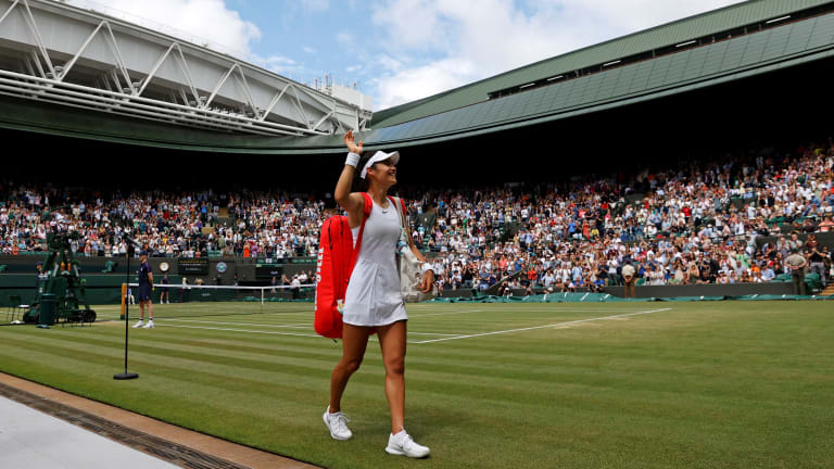 Raducanu is yet to drop a set through the first week of Wimbledon (Getty Images).
