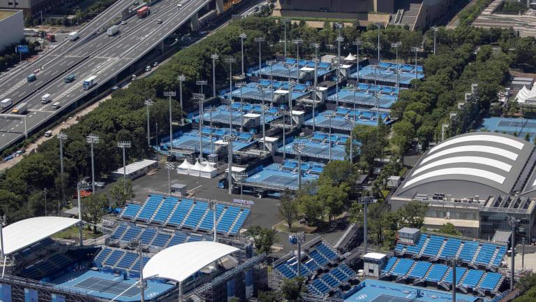 Aerial view of Tokyo's Ariake Tennis Park.