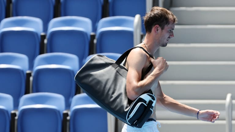 Medvedev appeared on the verge of retiring after dropping a hotly contested second set to Fognini (Getty Images).