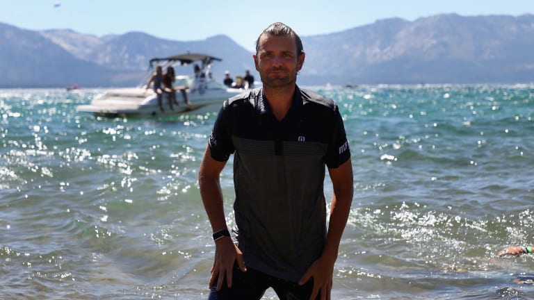 Fish took a celebratory dip in Lake Tahoe after dominating the 2020 American Century Championship.