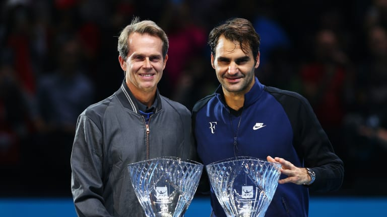 Federer and Edberg  discuss racquets  and history