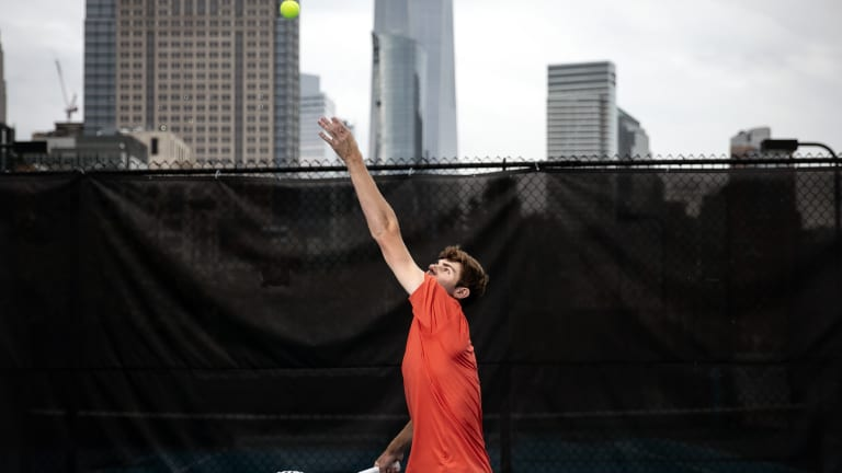 Opelka poses with tallest building for NYC Red Bull shoot
