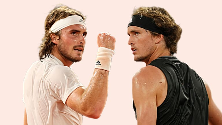 Tsitsipas is aiming to overturn a 0-3 mark in Grand Slam semifinals. (Photos: Getty Images & Cedric Lecocq)