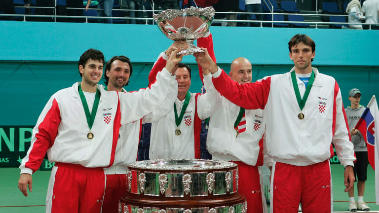 In the 2005 Davis Cup final, Ancic won a decisive fifth rubber over Slovakia's Michal Mertiank to clinch Croatia's first title.