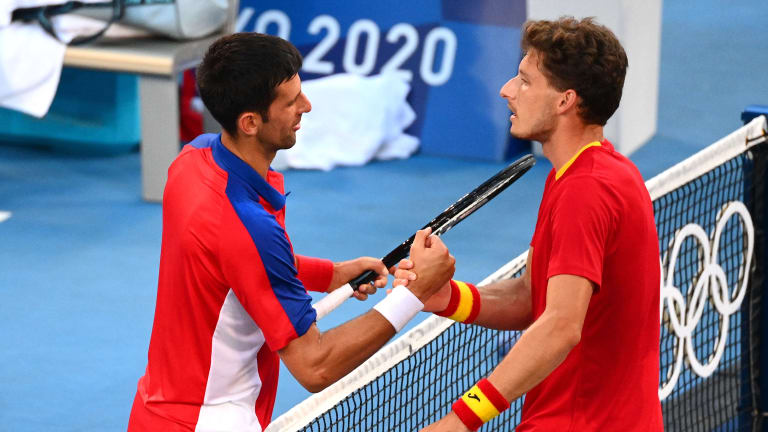 Carreno Busta beat the Top 2 players in the world in Tokyo—No. 2 Daniil Medvedev in the quarters and No. 1 Djokovic in the bronze medal match.