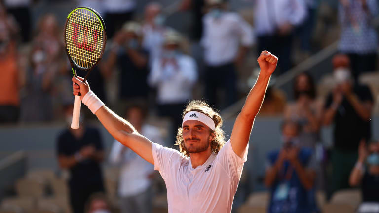 Tsitsipas won't have much time to celebrate before his first Grand Slam final—against Novak Djokovic or Rafael Nadal.