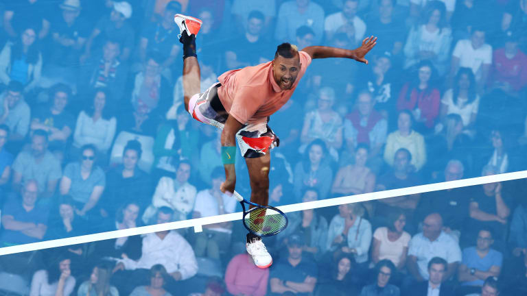 Pantomimes: Kyrgios—and then Simon—impersonate Nadal's serving routine