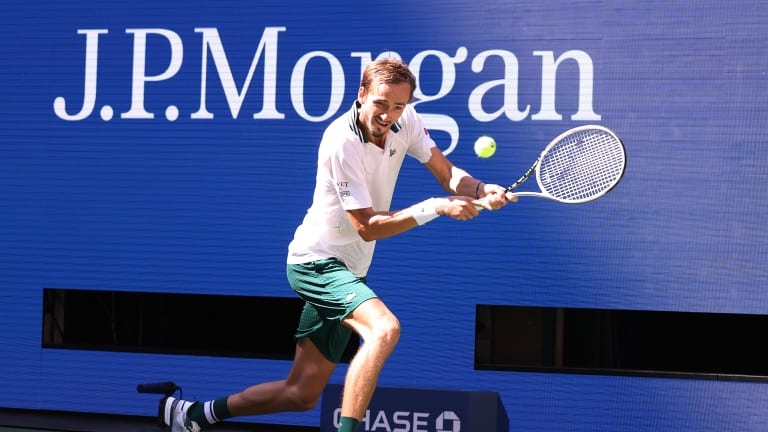 Medvedev willingly stood far, far back to return serves, and for the most part, the strategy paid off.