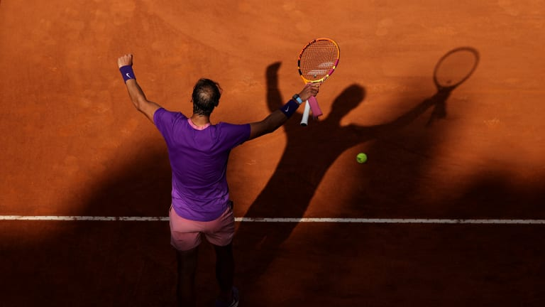 Rome: Nadal slides and slithers and scrambles his way past Shapovalov