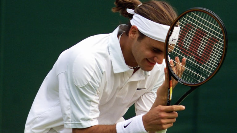 Into his first Wimbledon quarterfinal at 19, Federer won win the trophy two years later over Mark Philippoussis.