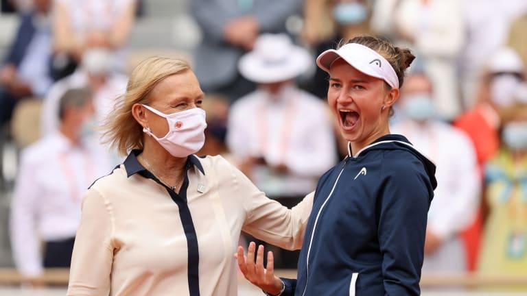 Martina Navratilova presented the winner's trophy to an overjoyed Krejcikova.
