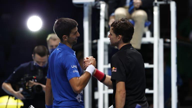 "ATP Finals driver's seat? Djokovic says Thiem ""took it away from me"""