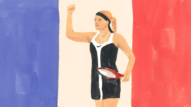 Mary Pierce's 2000 Roland Garros colorblock dress