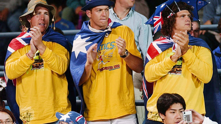 """Hewitt's """"Fanatics"""" followed him around the globe, including at his return to New York City in 2002."""
