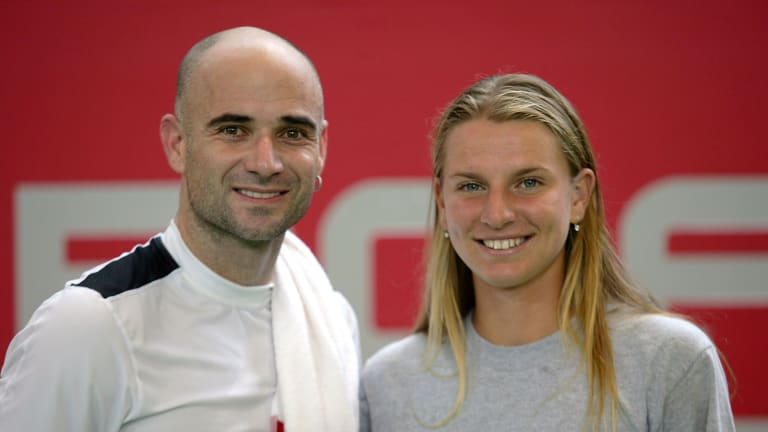 Karatantcheva began her rise in the sport at the Bollettieri Academy, home to stars like Andre Agassi (pictured) and Maria Sharapova (Getty Images).