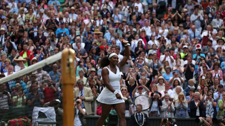 """Serena Williams continued her march towards a second """"Serena Slam"""" after an epic with Azarenka."""