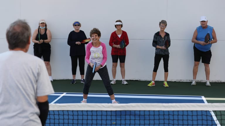 While laughter is often absent in tennis, the same can't be said for pickleball.