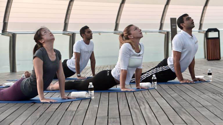 Simona Halep has worked yoga into her training routine.