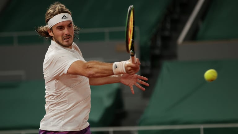 Tsitsipas held steady and went on to win, 5-7, 6-3, 7-6 (3), 6-1.