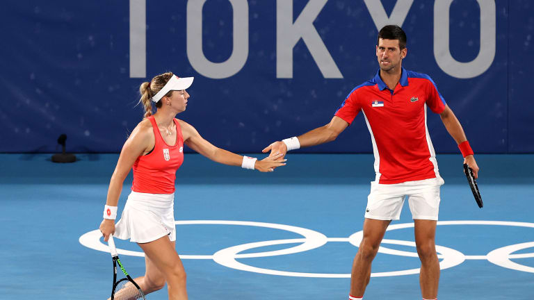 Stojanovic and Djokovic are one of four unseeded teams left in the top half of the mixed doubles draw.