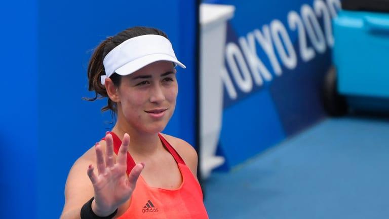 Muguruza won her first six singles sets in Tokyo, before being halted by Elena Rybakina.